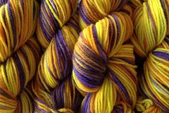 Valley,Sunflower,Hand,Dyed,Merino,Yarn,DK,/,Sport,Weight,Hand Dyed Merino Wool Yarn DK / Sport Yellow Purple Orange