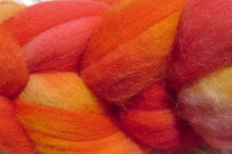 Sunset Red Hand Dyed Wool Roving - product image