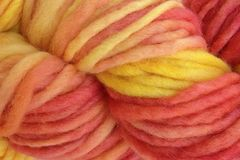 Sunset,Red,Hand,Dyed,Wool,Pencil,Roving,Bulky Yarn Hand Dyed Red Pink Yellow Orange