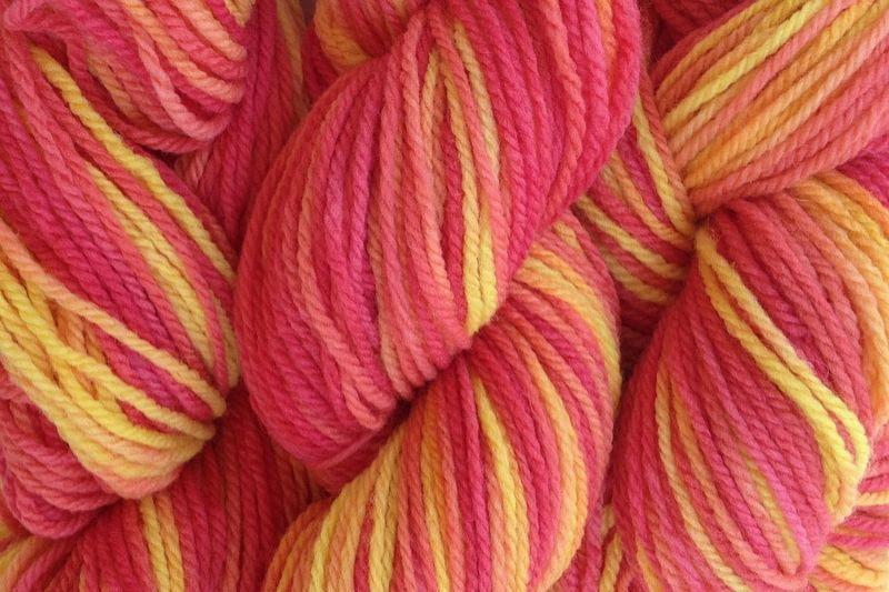 Sunset Red Hand Dyed Merino Wool Yarn DK / Sport Weight - product image