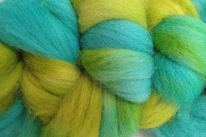 Lime Ice Colorful Hand Dyed Wool Roving - product image