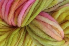 Mango,Tango,Hand,Dyed,Wool,Pencil,Roving,Bulky Wool Yarn Pencil Roving Hand Dyed Yellow Pink Green