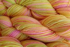 Mango,Tango,Hand,Dyed,Merino,Wool,Worsted,Weight,Hand Dyed Merino Wool Yarn Worsted Weight Yellow Pink Green