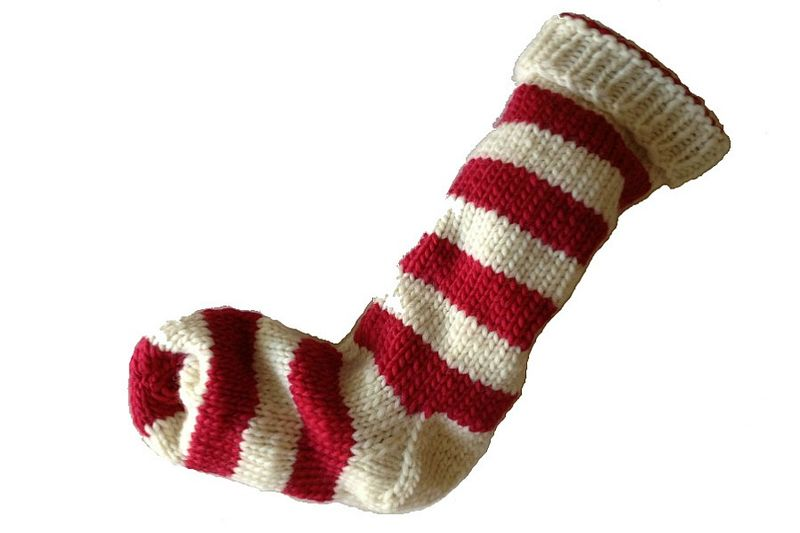 Hand Knit Christmas Stocking Natural White and Red Striped Santa Sock - product image