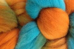 Hopi,Land,Hand,Dyed,Wool,Roving,Wool Roving Hand Dyed Turquoise Blue Orange eweandmeyarns
