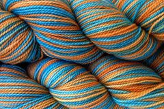 Hopi,Land,Hand,Dyed,Fingering,Weight,Merino Wool Yarn, Hand Dyed Yarn, Turquoise Blue Orange, Fingering Weight Yarn, Super Wash Sock Yarn, eweandmeyarns