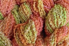 Squash,Blossom,Hand,Dyed,Bumpy,Merino,Yarn,Bulky,Weight,Squash Blossom  Bumpy Textured Yarn Orange Yellow Green eweandmeyarns.com
