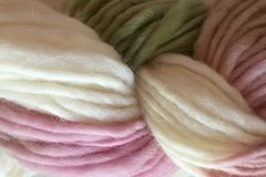 Shabby,Romance,Hand,Dyed,Wool,Pencil,Roving,Bulky Yarn Hand Dyed Pink White Green ewe and me yarns