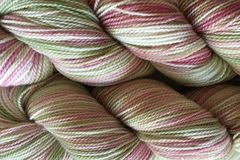 Shabby,Romance,Hand,Dyed,Fingering,Weight,Merino Wool Yarn Hand Dyed Pink White Green Fingering Weight Super Wash Sock Yarn eweandmeyarns