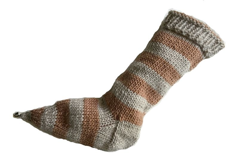 Hand Knit Christmas Stocking Pointy Toe with Bell Tan and Beige Striped Santa Sock - product image