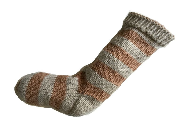 Hand Knit Christmas Stocking Tan and Beige Striped Santa Sock - product image