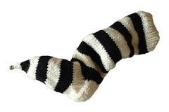 Hand,Knit,Christmas,Stocking,Pointy,Toe,with,Bell,Natural,White,and,Black,Striped,Santa,Sock,Hand Knit Christmas Stocking Pointy Toe with Bell Natural White and Black Striped Santa Sock Sock Yarn eweandmeyarns