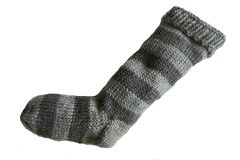 Hand,Knit,Christmas,Stocking,Light,Gray,and,Striped,Santa,Sock,Hand Knit Christmas Stocking Hand Knit Light Gray and Gray Striped Santa Sock eweandmeyarns
