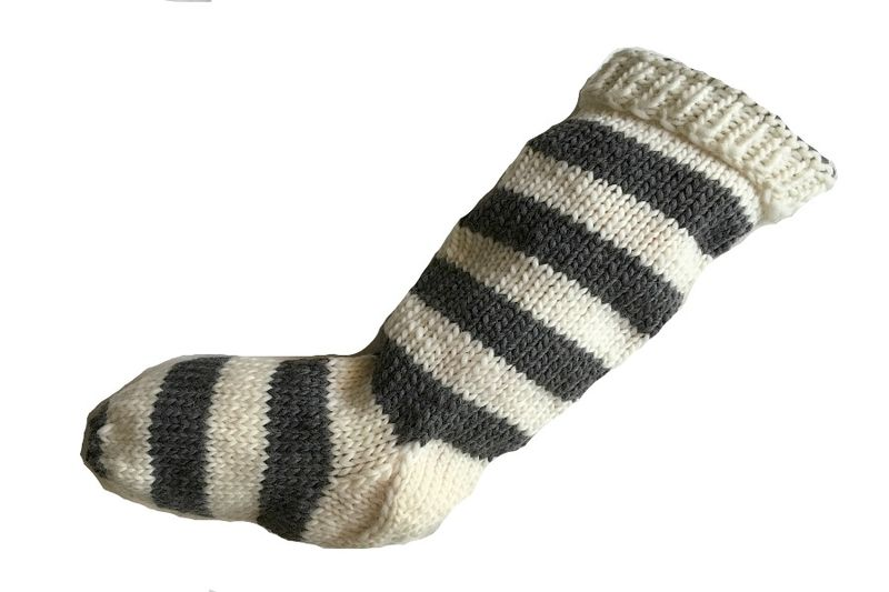 Hand Knit Christmas Stocking Natural White and Gray Striped Santa Sock - product image