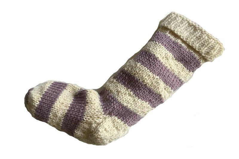 Hand Knit Christmas Stocking Natural White and Purple Striped Santa Sock - product image