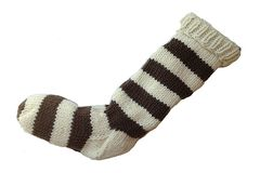 Hand,Knit,Christmas,Stocking,Natural,White,and,Brown,Striped,Santa,Sock,Hand Knit Christmas Stocking Hand Knit Natural White and Brown Striped Santa Sock eweandmeyarns