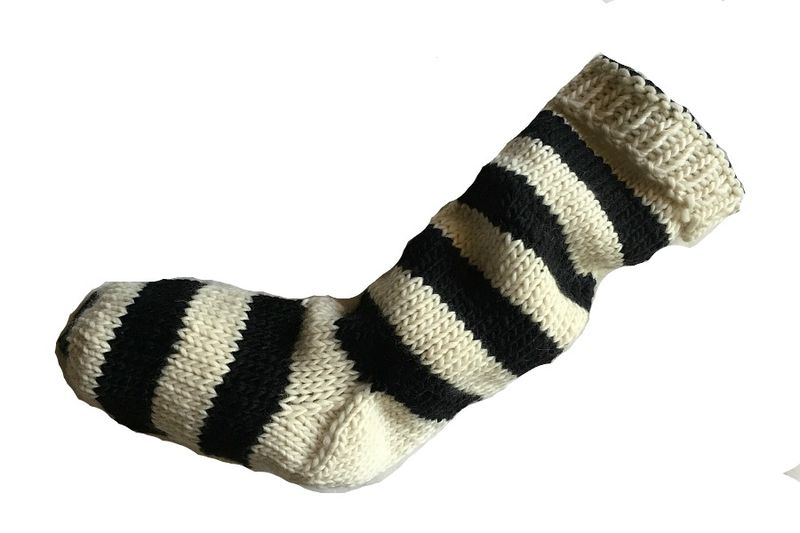 Hand Knit Christmas Stocking Natural White and Black Striped Santa Sock - product image