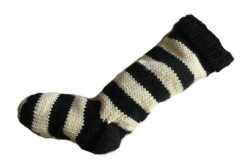 Hand Knit Christmas Stocking Black and Natural White Striped Santa Sock - product image