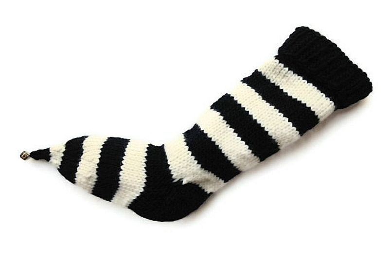 Hand Knit Christmas Stocking Pointy Toe with Bell Black and Natural White Striped Santa Sock - product image