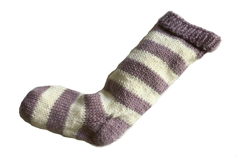 Hand Knit Christmas Stocking Purple and Natural White Striped Santa Sock - product image
