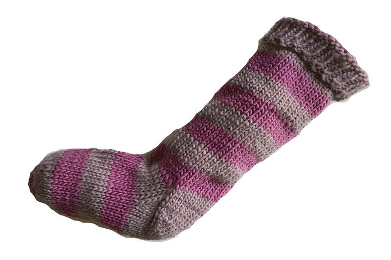 Hand Knit Christmas Stocking Purple and Lavender Purple Striped Santa Sock - product image