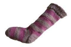 Hand,Knit,Christmas,Stocking,Purple,and,Lavender,Striped,Santa,Sock,Hand Knit Christmas Stocking Hand Knit Purple and Lavender Purple Striped Santa Sock eweandmeyarns