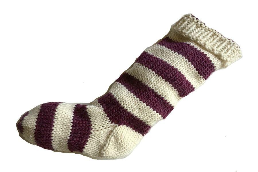 hand knit christmas stocking natural white and plum purple striped santa sock - Purple Christmas Stocking