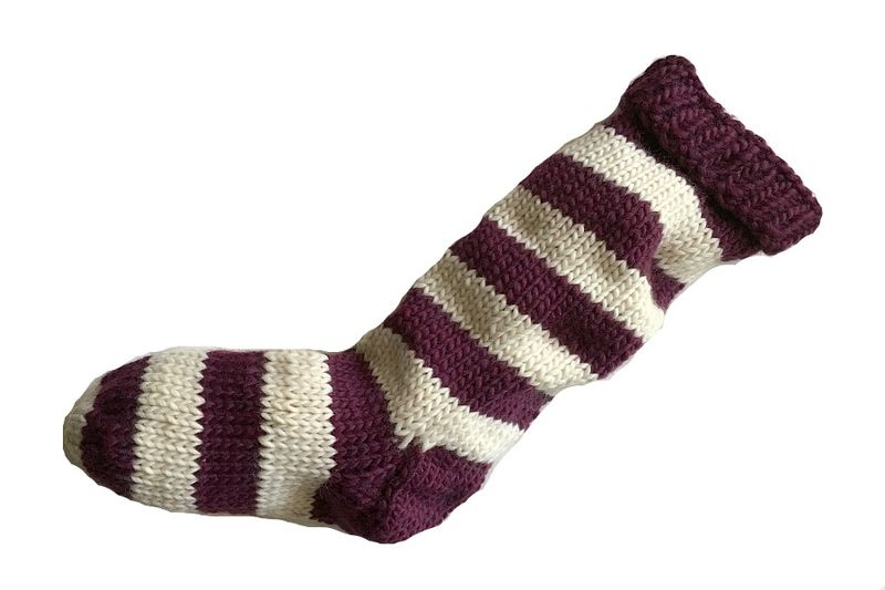 Hand Knit Christmas Stocking Plum Purple and Natural White Striped Santa Sock - product image