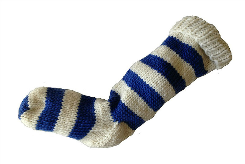 Hand Knit Christmas Stocking Natural White and Blue Striped Santa Sock - product image