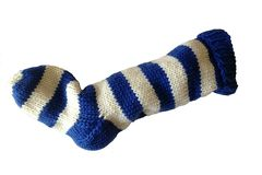 Hand,Knit,Christmas,Stocking,Blue,and,Natural,White,Striped,Santa,Sock,Hand Knit Christmas Stocking Hand Knit Natural White and Blue Striped Santa Sock eweandmeyarns