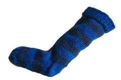 Hand,Knit,Christmas,Stocking,Blue,and,Navy,Striped,Santa,Sock,Hand Knit Christmas Stocking Hand Knit Blue and Navy Blue Striped Santa Sock eweandmeyarns