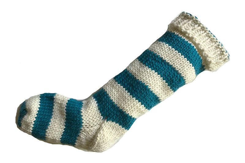 Hand Knit Christmas Stocking Natural White and Aqua Teal Santa Sock - product image