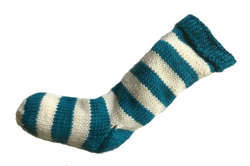 Hand Knit Christmas Stocking Aqua Teal and Natural White Striped Santa Sock - product image