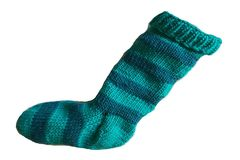 Hand,Knit,Christmas,Stocking,Aqua,and,Teal,Striped,Santa,Sock,Hand Knit Christmas Stocking Hand Knit Aqua and Teal Striped Santa Sock eweandmeyarns