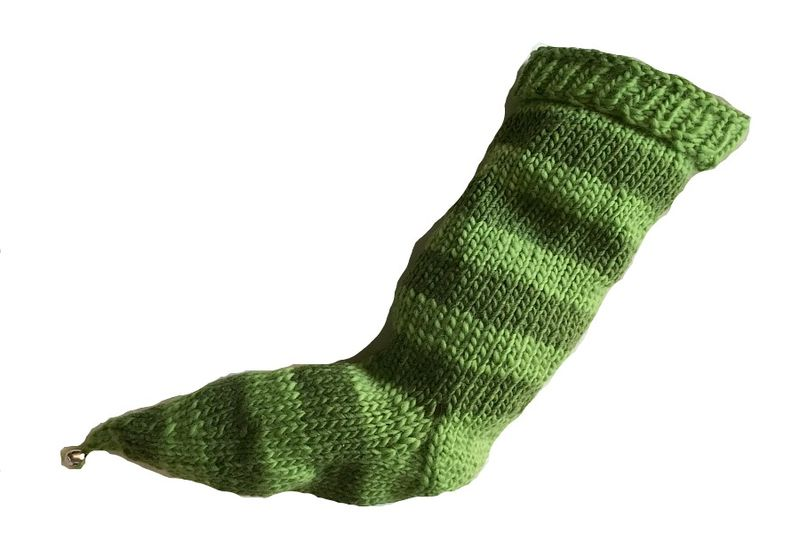 Hand Knit Christmas Stocking Pointy Toe w/ Bell Green and Dark Green Striped Santa Sock - product image