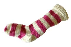 Hand,Knit,Christmas,Stocking,Natural,White,and,Pink,Striped,Santa,Sock,Hand Knit Christmas Stocking Natural White and Pink Striped Santa Sock eweandmeyarns.com