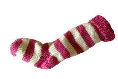 Hand,Knit,Christmas,Stocking,Pink,and,Natural,White,Striped,Santa,Sock,Hand Knit Christmas Stocking Pink and Natural White Striped Santa Sock eweandmeyarns.com