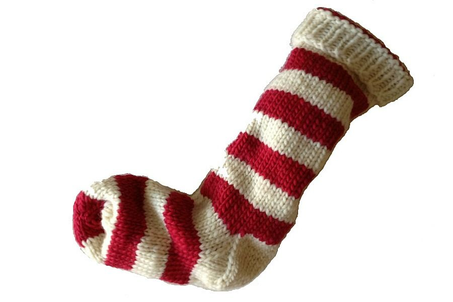 53623b6167e Hand Knit Christmas Stocking Natural White and Red Striped Santa Sock -  product image