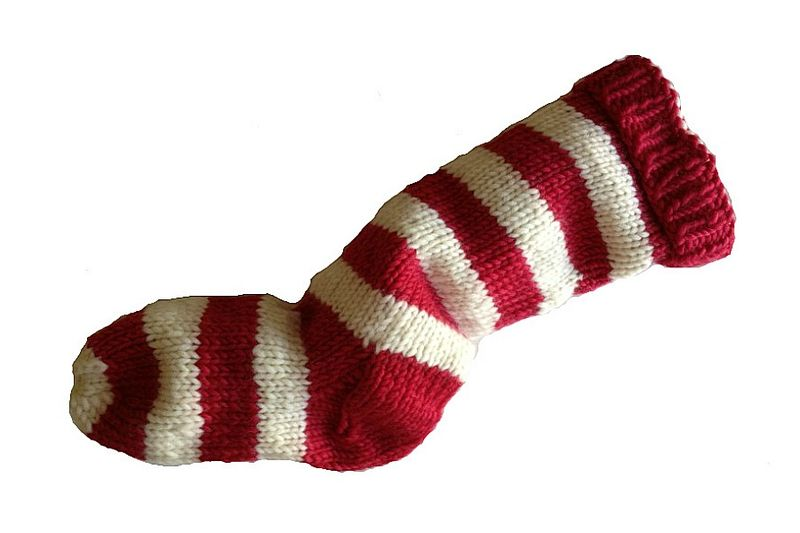 Hand Knit Christmas Stocking Red and Natural White Striped Santa Sock - product image