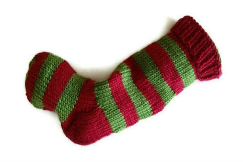 Hand Knit Christmas Stocking Red and Green Striped Santa Sock - product image