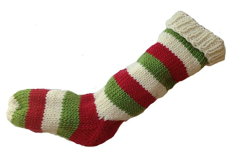 Hand Knit Christmas Stocking Natural White, Red, Green Striped Santa Sock - product image