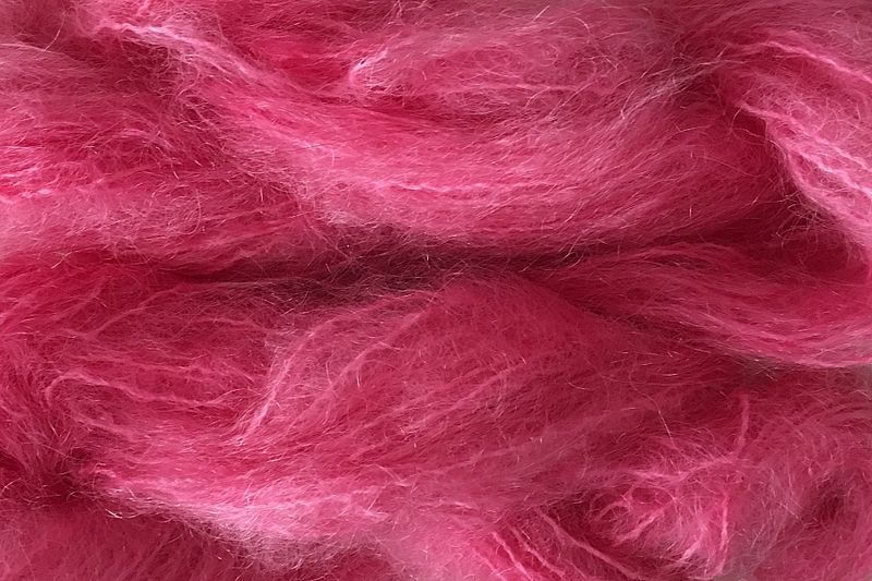 Candy Pink Mohair Yarn Fingering Weight - product image
