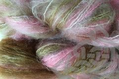 Pink,Sand,2oz,(60g),Mohair,Yarn,Fingering,Weight,Variegated Mohair Yarn, Fingering Weight Yarn, Waldorf Doll Hair, Pink, Brown, Tan, Pink Sand, Sand Pink, True Pink, MId Pink, Rose Petal Pink, 2 ounce, 60 grams, Large Skein Mohair, Hand Dyed, eweandmeyarns.com, South African Mohair
