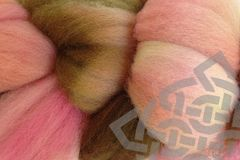Pink,Sand,Hand,Dyed,Wool,Roving,Wool Roving, Merino Wool Roving, Hand Dyed, Pink, Brown, Needle Felting Supplies, eweandmeyarns.com