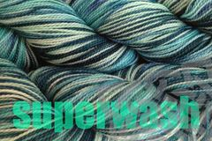 Beach,Glass,Hand,Dyed,Fingering,Weight,Merino Wool Hand Dyed Yarn, Mint Green Aqua Gray Mallard Green, Fingering Weight Yarn,  Super Wash Yarn, eweandmeyarns.com