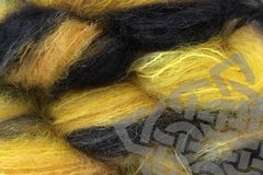 Taxi,Cab,2oz,(60g),Mohair,Yarn,Fingering,Weight,Variegated Mohair Yarn, Fingering Weight Yarn, Waldorf Doll Hair, Cab Yellow, Gray Black, Mustard Yellow, Taxi Cab, 2 ounce, 60 grams, Large Skein Mohair, Hand Dyed, eweandmeyarns.com, South African Mohair