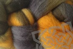 Taxi,Cabs,Hand,Dyed,Wool,Roving,Wool Roving, Needle Felt Roving, Variegated Roving, Hand Dyed, Cab Yellow, Gray Black, Taxi Cab, eweandmeyarns Taxi Cab