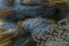 Indigo,Cowboy,2oz,(60g),Mohair,Yarn,Fingering,Weight,Variegated Mohair Yarn, Fingering Weight Yarn, Waldorf Doll Hair, Indigo Cowboy, Cowboy Blue, blue navy brown, 2 ounce, 60 grams, Large Skein Mohair, Hand Dyed, eweandmeyarns.com, South African Mohair