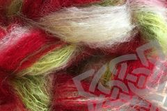 Strawberry,Fields,2oz,(60g),Mohair,Yarn,Fingering,Weight,Variegated Mohair Yarn, Fingering Weight Yarn, Waldorf Doll Hair, Strawberry Fields, Strawberry Red, red white green, Primary Red, 2 ounce, 60 grams, Large Skein Mohair, Hand Dyed, eweandmeyarns.com, South African Mohair