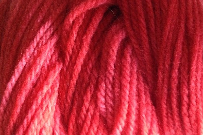 Strawberry Red Hand Dyed Merino Wool Yarn Worsted Weight - product images  of